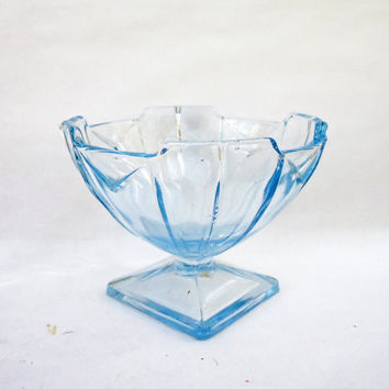 Vintage  Blue Glass Ice Cream Cup, Sherbet Cup, Candy Dish, UK Seller