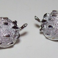 Vintage Sarah Coventry Brushed Silver Strawberry Earrings