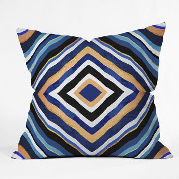 Elisabeth Fredriksson Blue Slice Throw Pillow