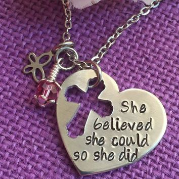 She Believed She Could So She Did Necklace - Graduation Gift - Motivation Necklace - Heart Cross Necklace - Motivation Jewelry - Gra
