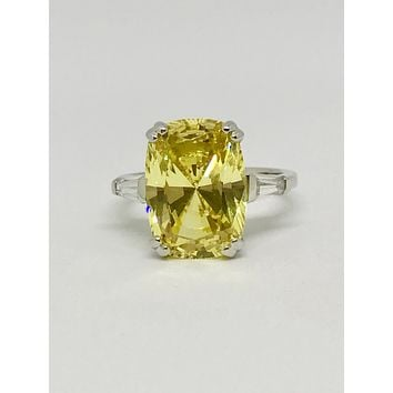 A Perfect 7.5CT Cushion Cut Canary Yellow Solitaire Russian Lab Diamond Engagement Ring