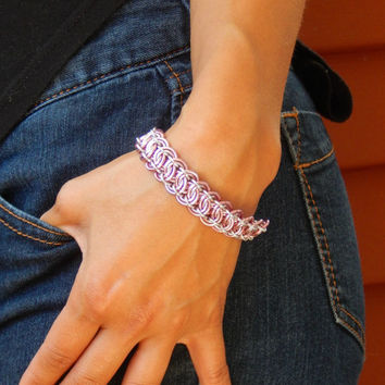 Shimmery Metal Pink Bracelet in Modern Chainmail Weave // Handmade Chain Maille Jewelry