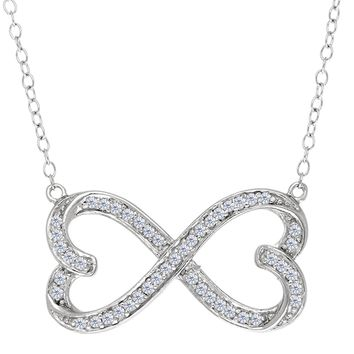 """Double Heart Infinity Sign And CZ Necklace In Sterling Silver, 18"""""""