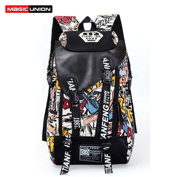 Fashion Trendy Comic book collage Bag Book Backpack high school college