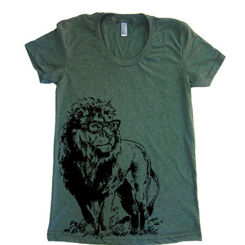 Women's T Shirt Lion Professor T-Shirt - American Apparel Tshirt - S M L XL (20 Color Options)