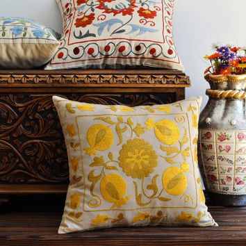 Suzani Pillow Cover, Decorative Ethnic Pillows - Yellow Suzani Pillow