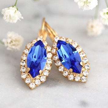 Sapphire Earrings, Blue Bridal Earrings, Swarovski Drop Earrings, Bridal Cobalt Drop Earrings, Blue Navy Earrings, Bridesmaids Earrings