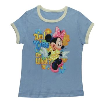 Minnie Mouse - Am I Cute Girl's Ringer T-Shirt