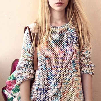 NEW autumn and winter round neck knit rainbow rod retro Korean version of sweet wild rainbow yarn ladies sweater jumper #mgsu = 1920054020