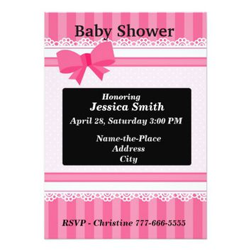 Pink Ribbon Baby Shower Card