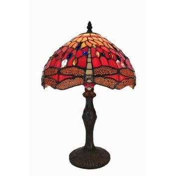 Tiffany Style Red Dragonfly Table Lamp