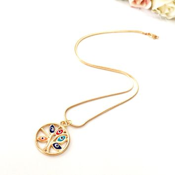 Evil eye necklace, tree of life necklace, gold evil eye necklace, colorful tree of life necklace