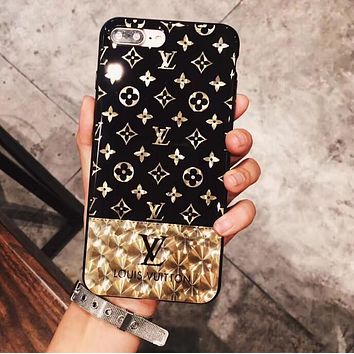 Day-First™ LV Louis Vuitton Electroplating dazzle black iphone 6 6s 7 7plus iPhone Phone Cover soft Case soft shell