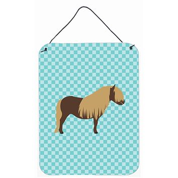 Shetland Pony Horse Blue Check Wall or Door Hanging Prints BB8088DS1216
