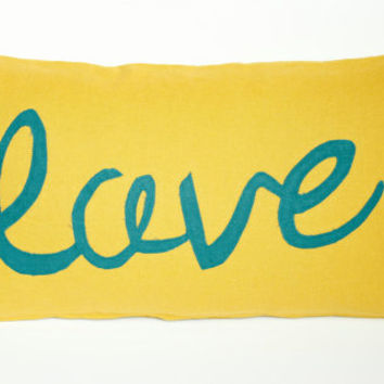 """12""""x22"""" Decorative Throw Pillow Cover- """"Love"""" Pillow, Yellow and Blue Throw Pillow"""