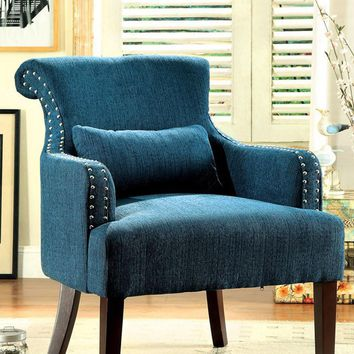 Agalva Contemporary Accent Chair With Dark Teal Color Fabric