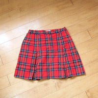 90s Red School Girl Skirt - red pleated skirt pleated mini skirt plaid pleated skirt plaid skirt 90s plaid school uniform 90s clueless skirt