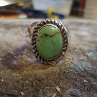 Authentic Navajo,Native American Southwestern sterling silver turquoise ring. Size 11