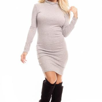 GREY ROUND NECKLINE LONG SLEEVES PARTY DRESS