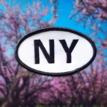 "New York NY Patch - Iron or Sew On - 2"" x 3.5"" - Embroidered Oval Appliqué - The Empire State - Black White Hat Bag Accessory Handmade USA"