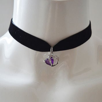 Kitten play day choker - velvet ribbon - with purple and crystal heart pendant - kittenplay ddlg cute necklace for everyday wearing