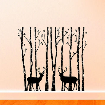 Birch Tree  Wall Decal Vinyl Sticker Deer Forest Animals Wall Decals Murals Living Room Woodland Nursery Bedroom Wall Art Home Decor Z828
