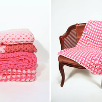 Afghan Crochet Blanket - Pink Granny Square Full Large