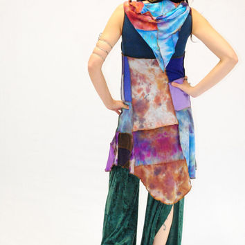 Patchwork Dress, Pixie Dress, Hooded dress, Hippie DRess, Gypsy, Hoodie, FestivaL Clothing, Hand dyed