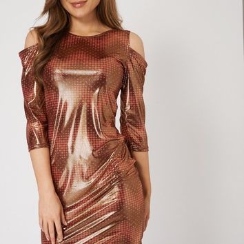 Shiny Cut out Shoulder Dress