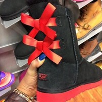 UGG:: bow leather boots boots in tube-35