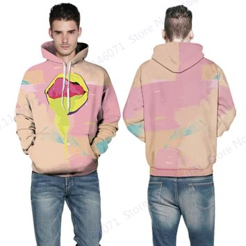 Autumn Pink Hoody Sweatshirt Sexy Yellow Graffiti Lips Sweater Winter Oversize Skateboarding Hoodie Mens Streetwear Tracksuits