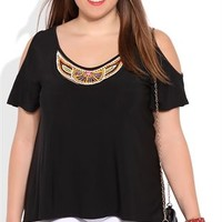 Plus Size Cold Shoulder Tee with Beaded Neckline