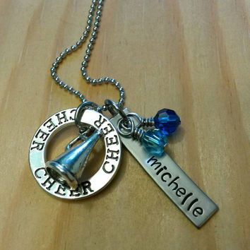 Hand Stamped Cheer Necklace - Cheerleading Necklace - with Team Colors - Cheer Team Gift