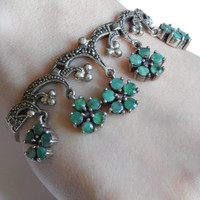 Fine Sterling Silver Emerald Green Jade Flower Bracelet with Marcasite and Swag Detailing