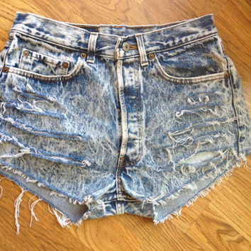 Vintage Acid Wash High Waisted Levi Denim Shorts