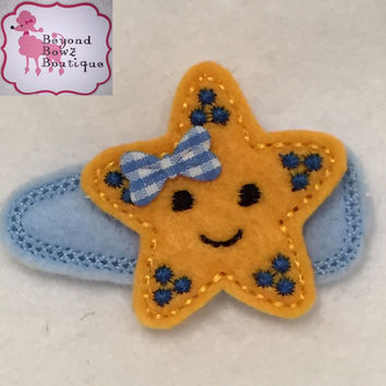 Starfish baby hair clip, custom color starfish hairclips with bling, toddler, girl, adult,embroidered felt barette, baby bows, glitz, cute,