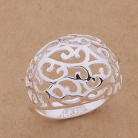 Shiny Stylish New Arrival Gift 925 Silver Fashion Luxury Hollow Out Jewelry Ring [6045547457]