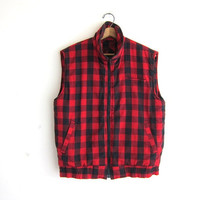 Buffalo Plaid Flannel Vest / puffer vest / Flannel - Hunter Lumberjack vest with Red and Black print