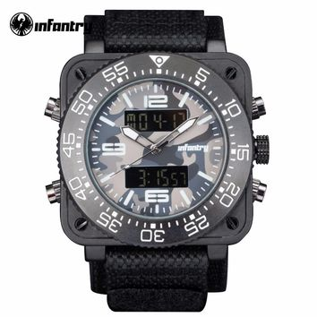 INFANTRY Mens Luxury Quartz Watch Grey Camoufle Military Square Face Watch Relogio Masculino Water Resistant Nylon Strap