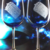 Police box T.A.R.D.I.S , tardis wedding glasses, blue glass goblets featuring Doctor who , dr. who , whovian , gift ideas, the doctor