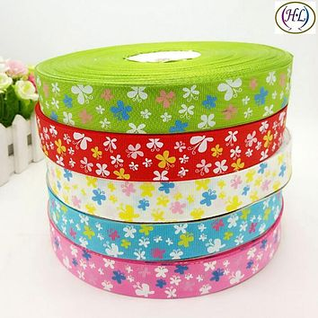 """HL 5yards Mix 1"""" (25mm) Printed Butterfly Single Face Grosgrain Ribbon Wedding Party Decoration DIY Weaving Crafts A789"""