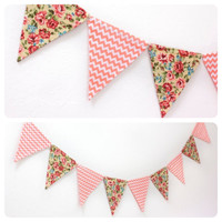 Fabric Double-sided Bunting Pennant Flag Banner, Girl's Room, Birthday Party, Dorm Decor, Baby, Wedding Photo Prop // Coral Floral & Chevron