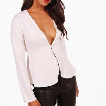 Chrissy Plunge Button Front Peplum Blouse | Boohoo