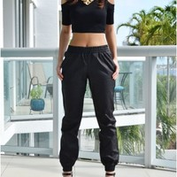 Lana Black Leather Jogger Pants