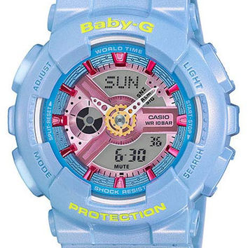 Casio Womens Baby-G - Analog-Digital - Pastel Blue 3-D Face - 100M - Stopwatch