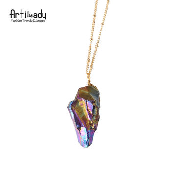 Artilady natural crystal pendant necklace with gold color chain multicolor crystal necklace for women jewelry party