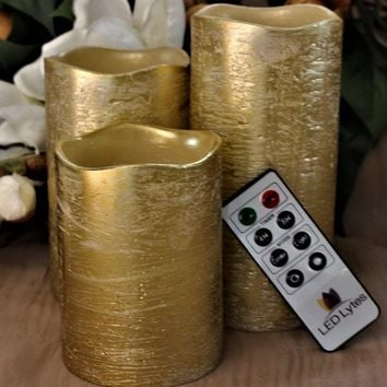 Rustic Gold Set With Amber Yellow Flame Flameless Wax Candles Remote and Timer