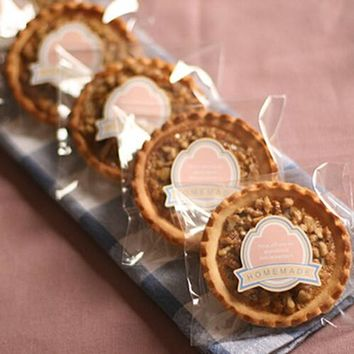 """""""Home Made"""" Pink ribbon adhesive seals stickers labels homemade DIY tags for cookie cake gift packaging decoration"""