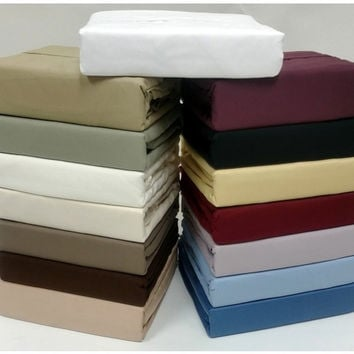"16"" Deep Pocket- 1000 Thread Count Solid Egyptian Cotton Bed Sheet Sets in Queen"