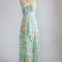Vintage 1970s Summer Nights Floral Maxi Dress